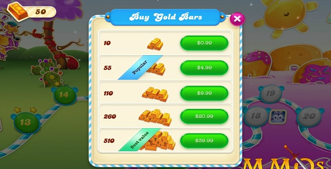 candy crush gold bars