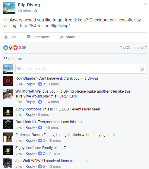 Flip Diving Free Tickets Proof